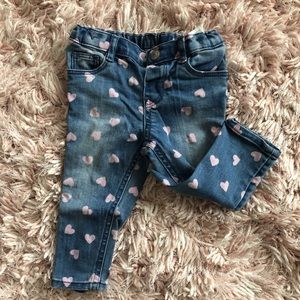 H&M Baby Girls jeans with pink hearts